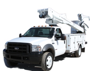 big white bucket truck